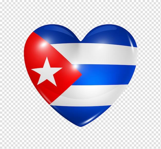 Coração com bandeira de cuba
