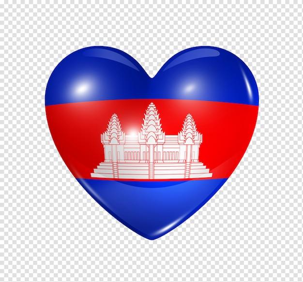 Coração com bandeira do camboja