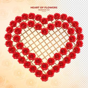 Coração com flores e madeira com cordas 3d render vermelho
