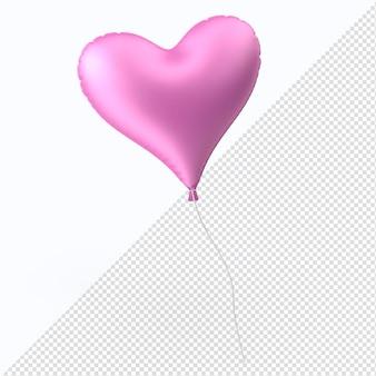 Coração de balão de folha de dia dos namorados rosa isolado