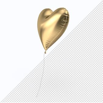 Coração de balão de folha dourada de dia dos namorados isolado