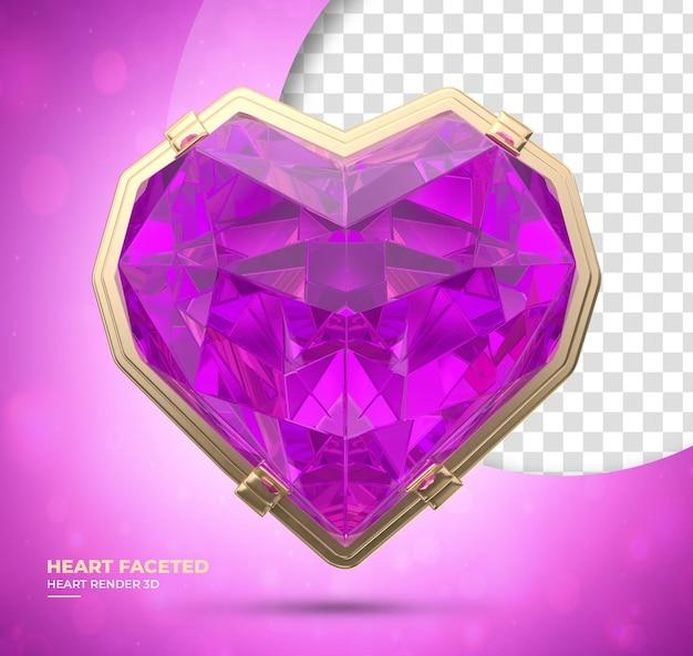 Coração de diamante realista 3d render rosa