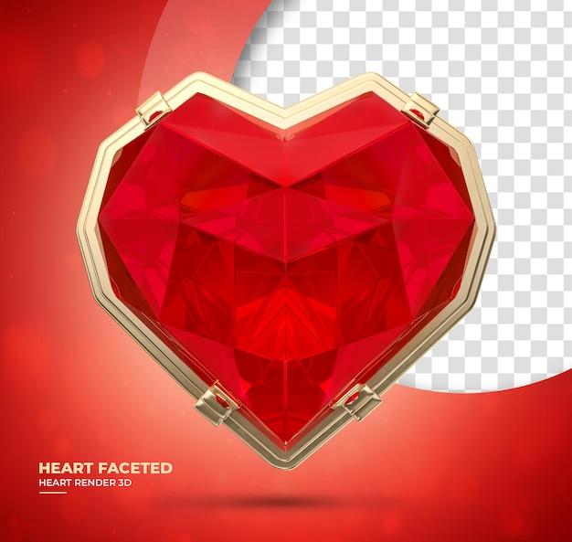Coração de diamante realista 3d render vermelho
