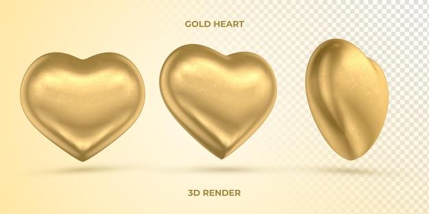 Coração de ouro realista 3d render dia das mães