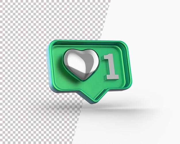 Coração de prata brilhante 3d em um ícone de notificação