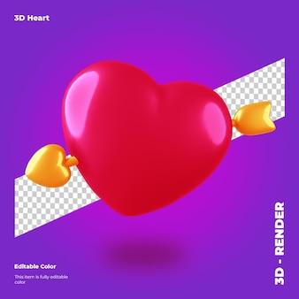 Coração dos namorados 3d com seta isolada