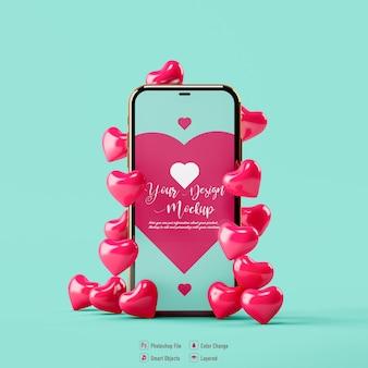 Coração dos namorados e maquete de celular isolados