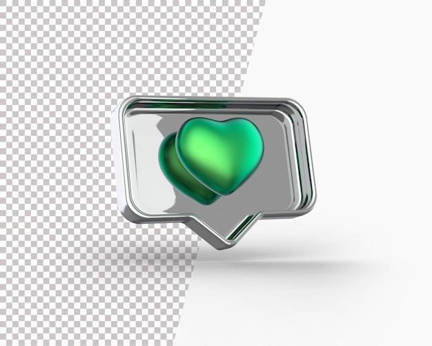 Coração dourado 3d em um ícone de notificação