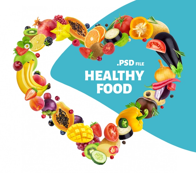 Coração feito de diferentes frutas, bagas e legumes