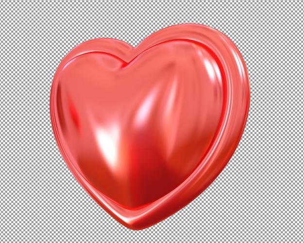 Coração metálico vermelho 3d