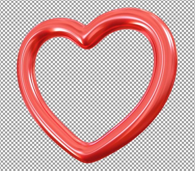 Coração metálico vermelho