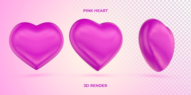Coração rosa realista 3d render dia das mães