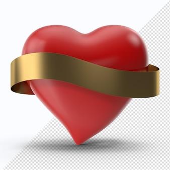 Coração vermelho dos namorados com fita dourada vista frontal
