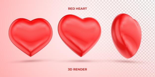 Coração vermelho realista renderização 3d dia das mães