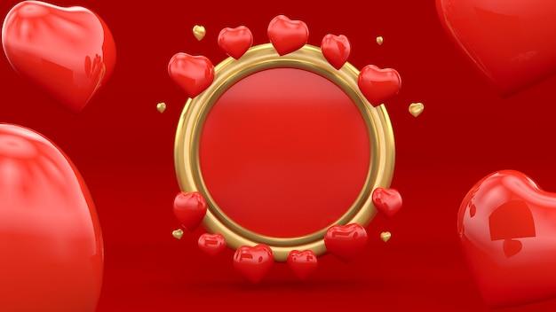 Corações com moldura dourada para dia dos namorados