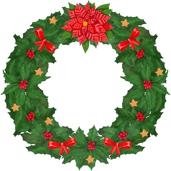 Coroa de folhas decorada arcos e estrelas. com a frase felicidades. isolado no branco