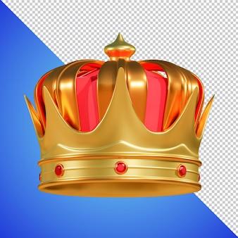 Coroa dourada com renderização 3d de gema isolada