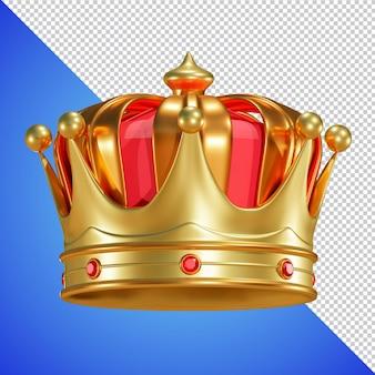 Coroa dourada com renderização 3d de gema isolada Psd Premium