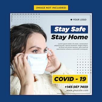 Corona virus warning social media post template psd