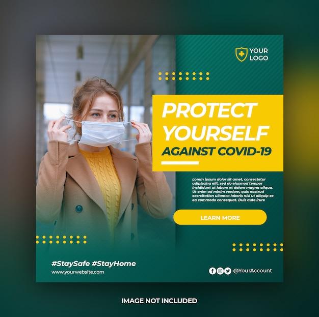 Coronavirus aviso modelo de postagem de banner de instagram de mídia social ou folheto quadrado