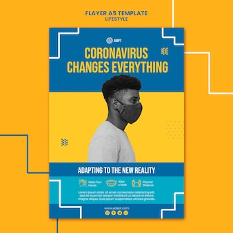 Coronavirus muda modelo de folheto