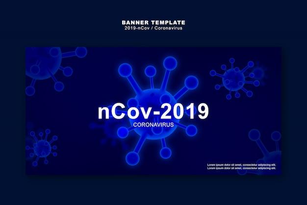 Coronavírus ou covid-19 conceito, modelo de banner