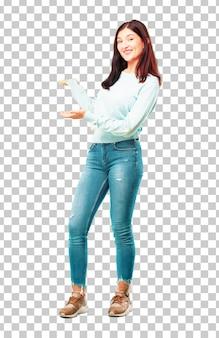 Corpo inteiro de menina bonita jovem sorrindo gesto de boas-vindas ou mostrando e recomendando um concep