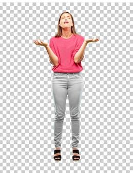 Corpo inteiro de mulher jovem.