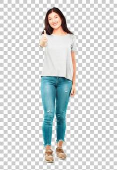 Corpo inteiro jovem garota bonita com uma expressão sorridente