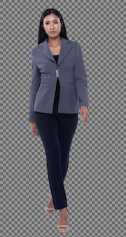 Corpo inteiro snap figure, 20s mulher de negócios asiática inteligente em calças de terno blazzer cinza, isolado. garota de pele bronzeada tem cabelo preto comprido e liso, andar em direção a sorriso sobre fundo branco estúdio