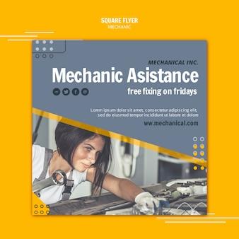 Corrija seu panfleto quadrado de assistência mecânica