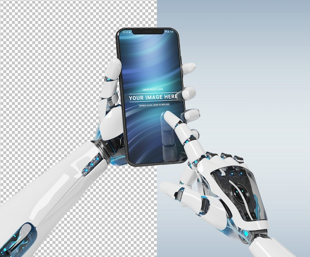 Cortar a mão do robô branco segurando a maquete do smartphone moderno