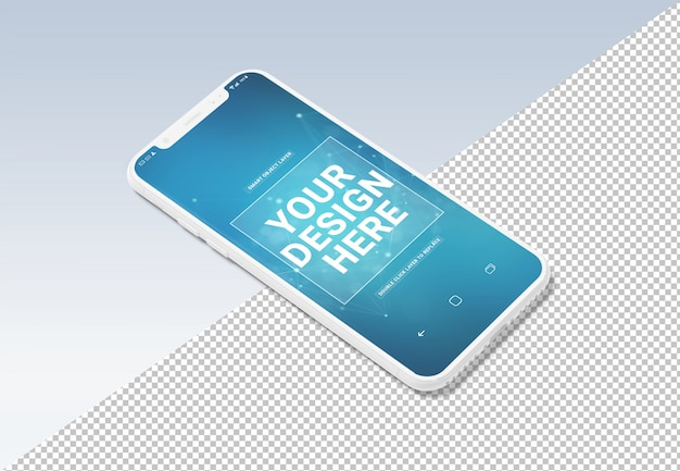 Cortar a maquete de celular branco sobre cinza
