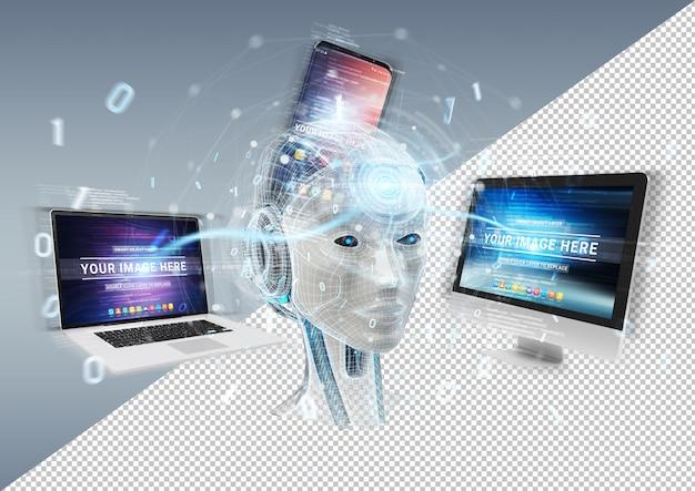 Cortar a maquete de dispositivos de conexão da cabeça do ciborgue