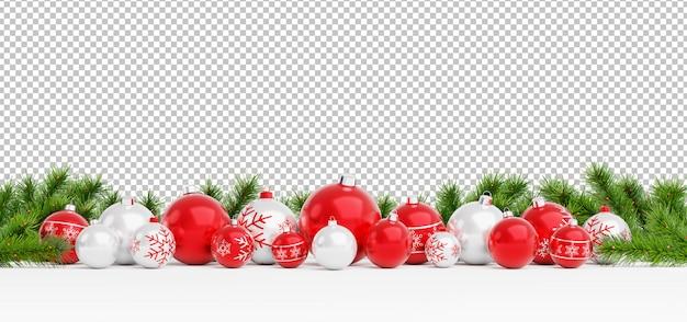 Cortar as bolas vermelhas e brancas de natal alinhadas
