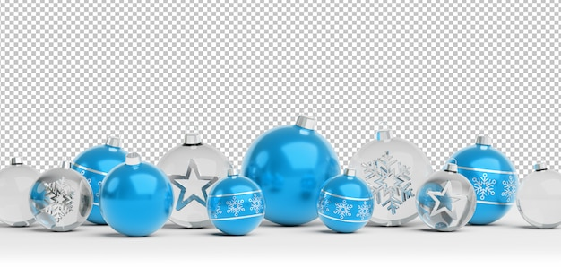 Cortar enfeites de natal de azul e vidro isolados alinhados