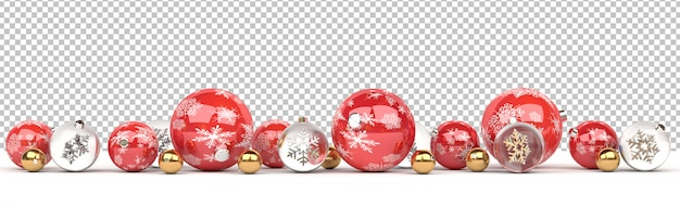 Cortar enfeites de natal de vermelho e vidro isolados alinhados
