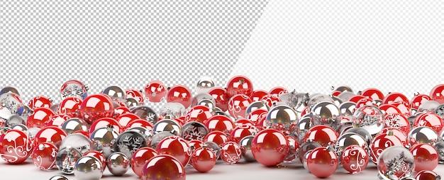 Cortar enfeites de natal vermelhos e prateados