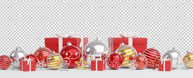Cortar enfeites de prata vermelhos e dourados e presentes de natal alinhados