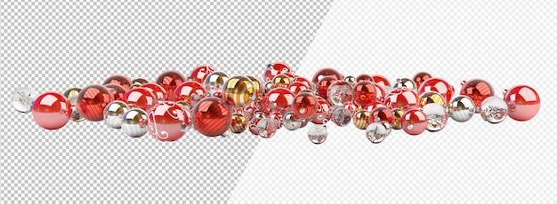Cortar enfeites ou bolas de natal de prata e ouro vermelhos