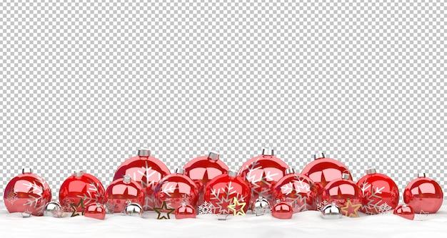 Cortar enfeites vermelhos de natal alinhados na neve