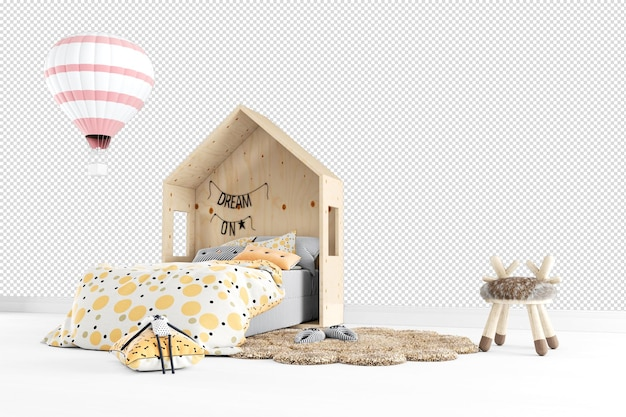 Cortar quarto de cama infantil em renderização 3d isolado