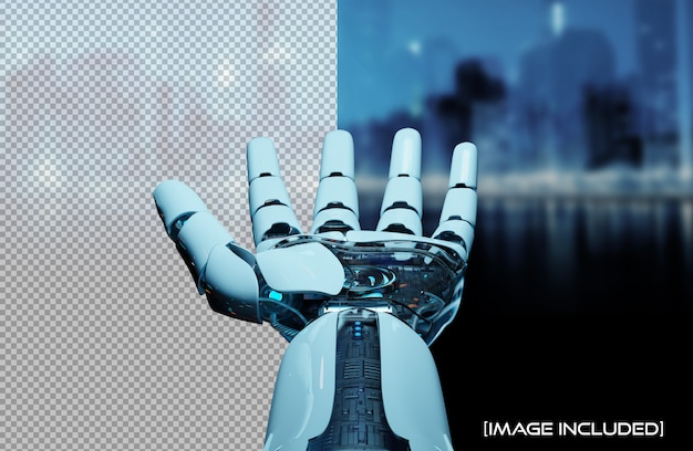 Corte a mão do robô aberto isolado