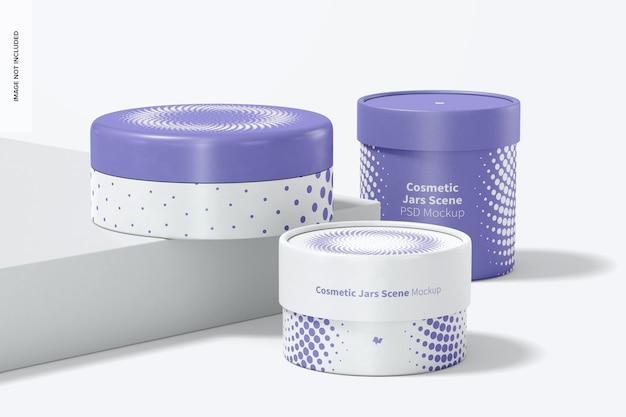 Cosmetic jars scene mockup Psd Premium