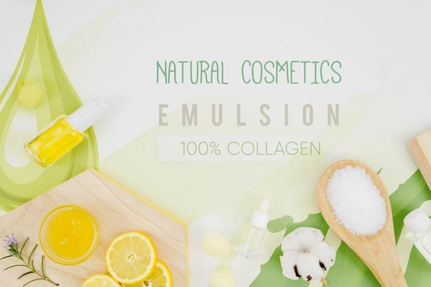 Cosméticos naturais e rodelas de limão
