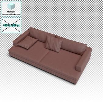 Couro de sofá vermelho isolado de renderização em 3d