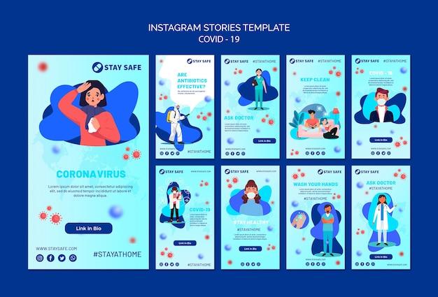 Covid-19 instagram stories template com ilustração