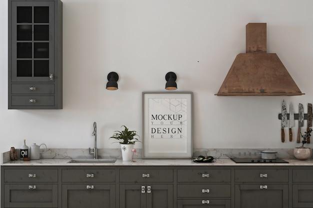 Cozinha monocromática com maquete de moldura