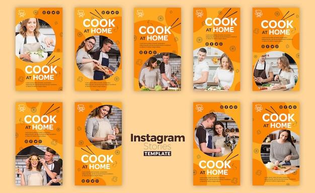 Cozinhar em casa instagram stories template