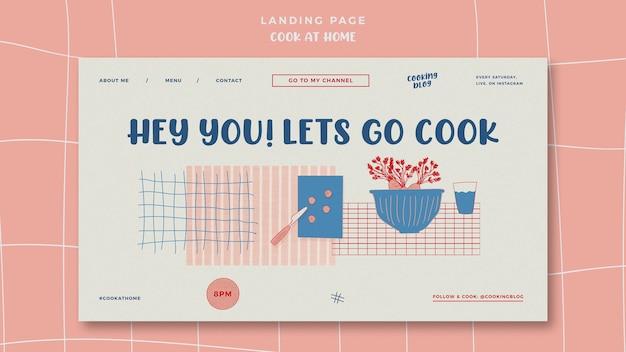 Cozinhar em casa landing page com ilustração